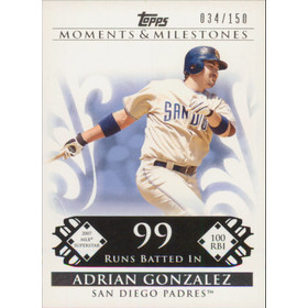 2008 Topps Moments & Milestones - Adrian Gonzalez #106 99 Runs Batted In 34/150