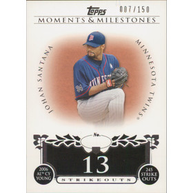 2008 Topps Moments & Milestones - Johan Santana #87 13 Strikeouts 7/150