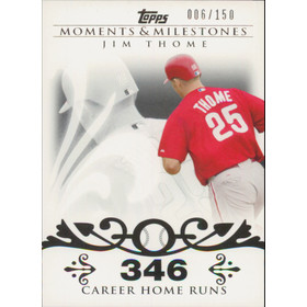 2008 Topps Moments & Milestones - Jim Thome #85 346 Career Homeruns 6/150