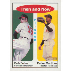 2001 Topps Heritage - Bob Feller/Pedro Martinez Then and Now #TH8