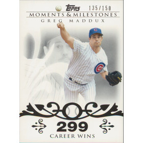 2008 Topps Moments & Milestones - Greg Maddux #8 299 Career Wins 135/150