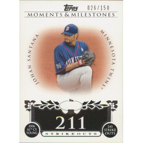 2008 Topps Moments & Milestones - Johan Santana #87 211 Strikeouts 26/150