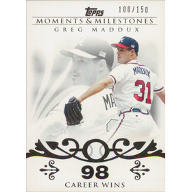 2008 Topps Moments & Milestones - Greg Maddux #8 98 Career Wins 100/150