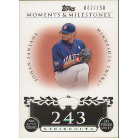 2008 Topps Moments & Milestones - Johan Santana #87 243 Strikeouts 2/150