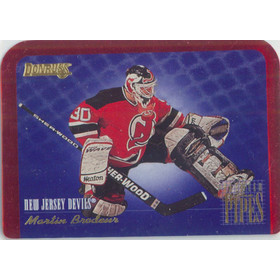 1995-96 DONRUSS - MARTIN BRODEUR #5 BETWEEN THE PIPES