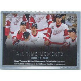 2015-16 SP AUTHENTIC - NICKLAS LIDSTROM/STEVE YZERMAN/CHRIS CHELIOS #157 ALL-TIME MOMENTS
