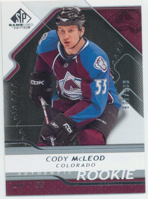 2008-09 SP GAME USED - CODY MCLEOD #114 AUTHENTIC ROOKIE 801/999