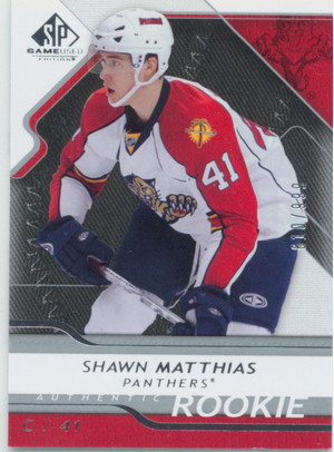 2008-09 SP GAME USED - SHAWN MATTHIAS #153 AUTHENTIC ROOKIE 610/999