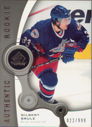 2005-06 SP GAME USED - GILBERT BRULE #139 AUTHENTIC ROOKIE 22/999