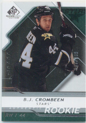 2008-09 SP GAME USED - B.J. CROMBEEN #106 AUTHENTIC ROOKIE 600/999